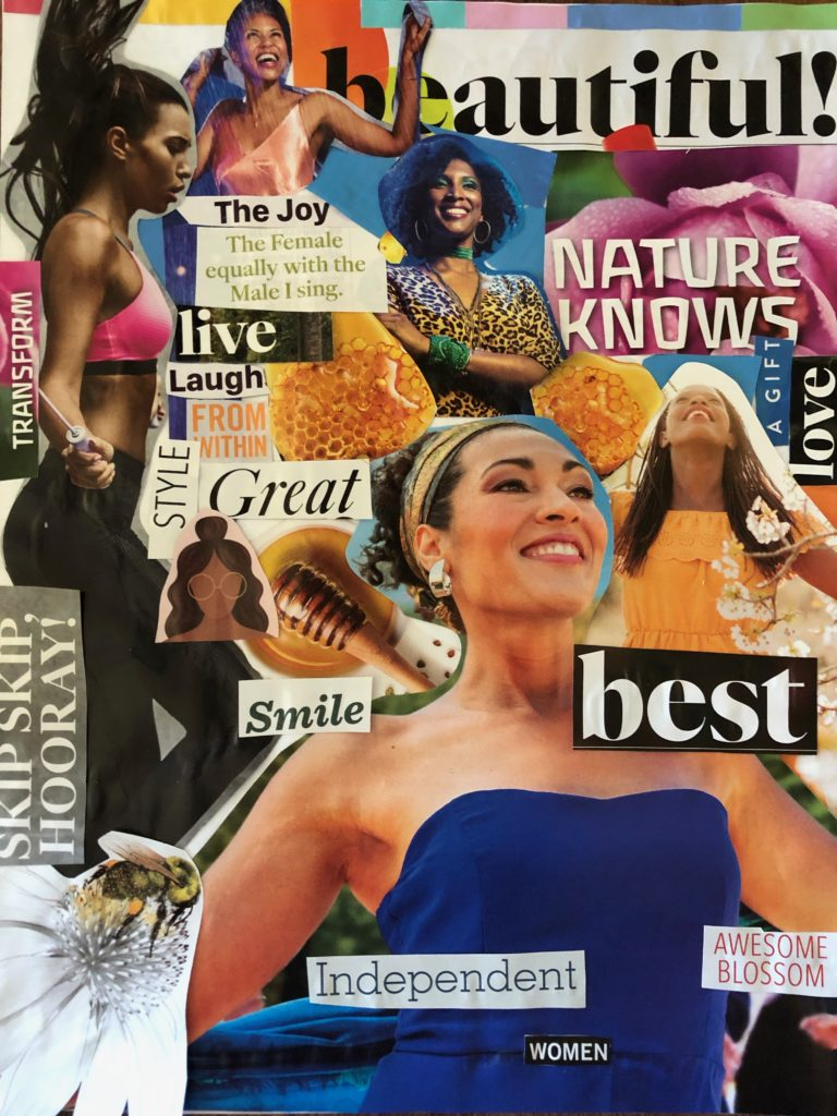"Collage, by the author, inspired by Maya Angelou's ""Phenomenal Woman"" poem."