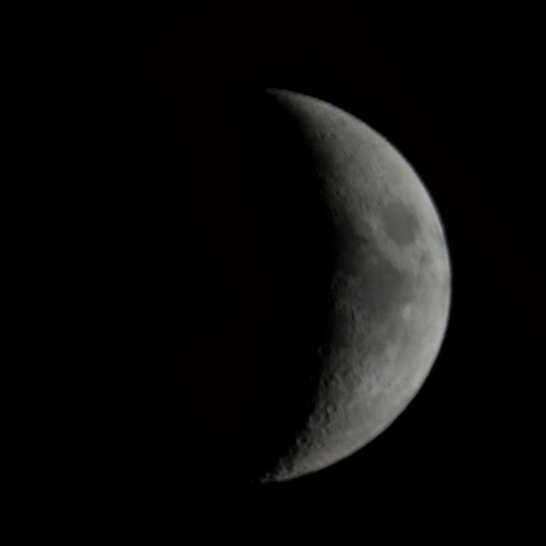 Image of the moon in waxing crescent phase as it was on July 20, 1969, when man landed on it.