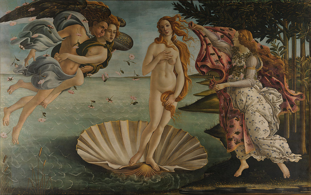 Classic painting of Aphrodite: The Birth of Venus by Sandro Botticelli