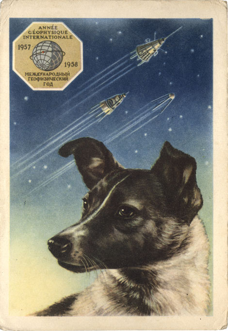 A portrait of the Soviet dog Laika which was sent into space and became a national martyr. Also shown are the three Sputnik satellites in the background.