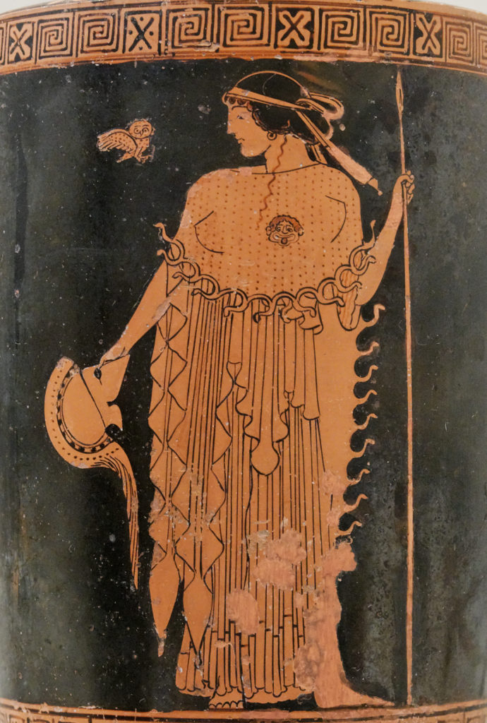 Greek vase with Athena and her little owl.