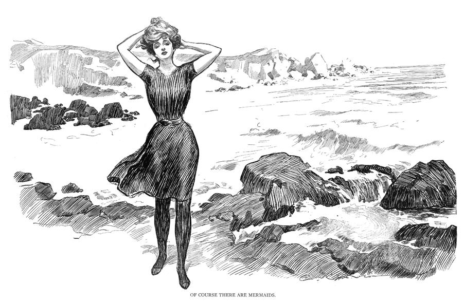 Gibson girl walking along the beach in a pen and ink illustration.