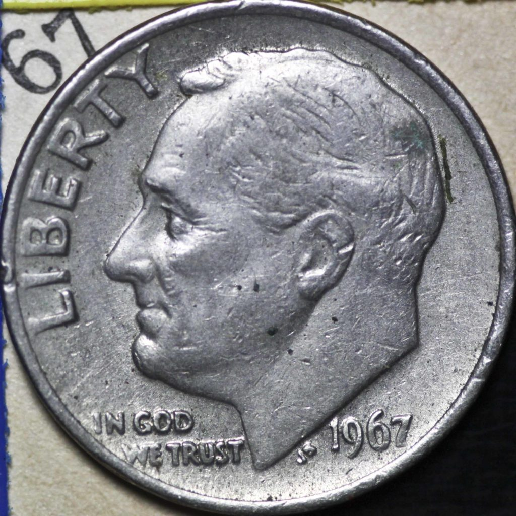 Dime with FDR's face on it