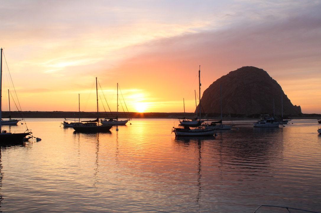 Morro Rock and Morro Bay at sunset