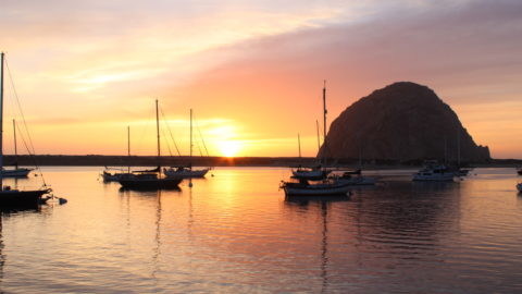 Morro Rock and Morro Bay at sunset