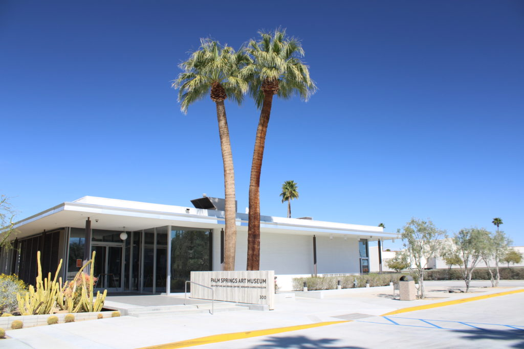 Palm Springs Art Museum building with two palm trees