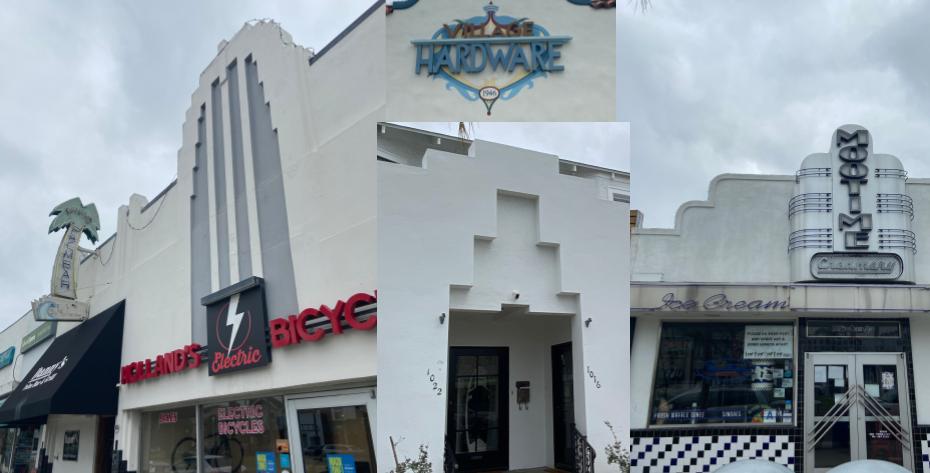 Collage of Art Deco details on Coronado buildings