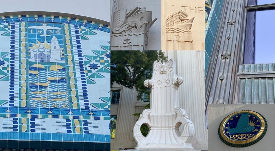 Art Deco details of San Diego County Admin building