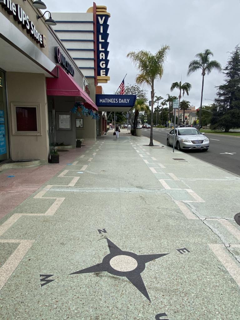 The Village Theatre marque and terrazzo sidewalk