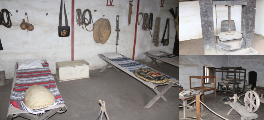 Soldier quarters, oil press, spinning wheel & loom at La Purisima Mission