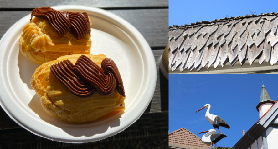Images of Solvang: pastry, wood shingled roof and wooden storks