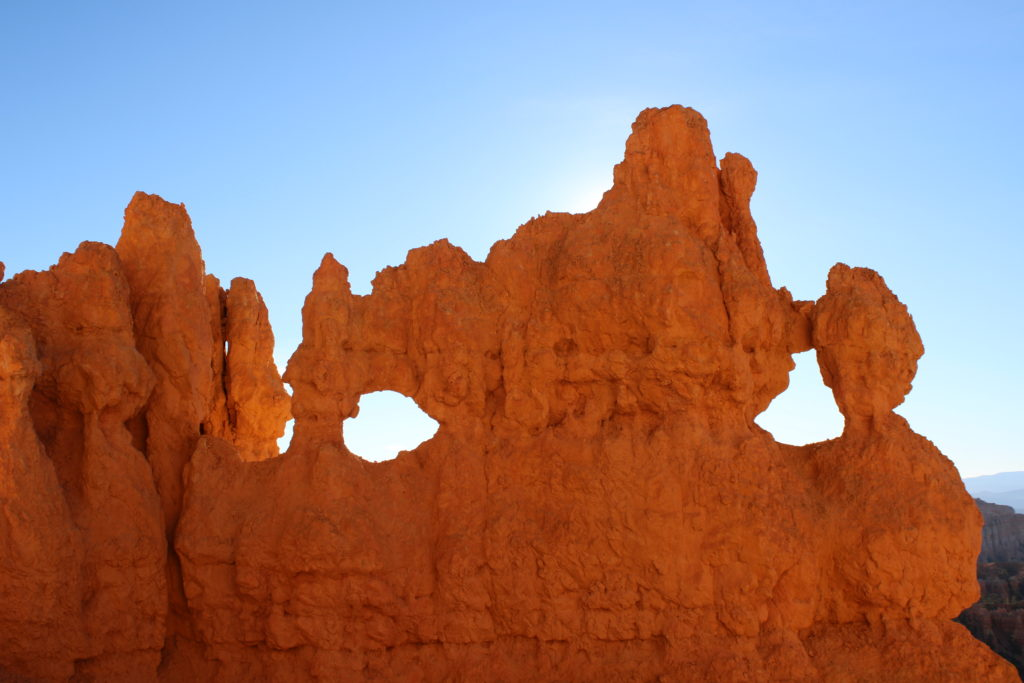 Windows in the cliffs of Bryce Canyon