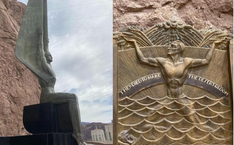 Winged figure statue and memorial relief