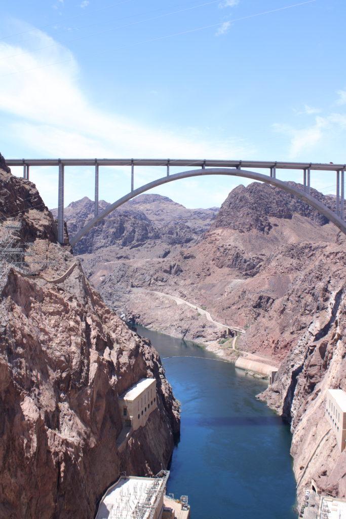 Mike O'Callaghan-Pat Tillman Memorial Bridge and bunkers along the Colorado River
