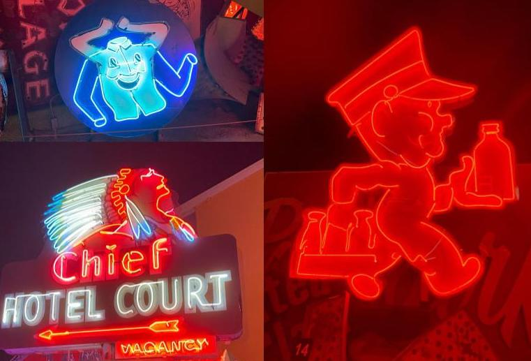 Laundry shop, Anderson Dairy, Chief Hotel Court neon signs