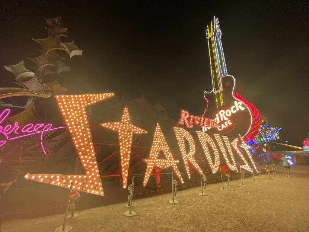 Stardust and Hard Rock Cafe neon signs