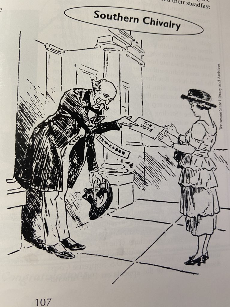 Cartoon showing Tennessee giving women the vote