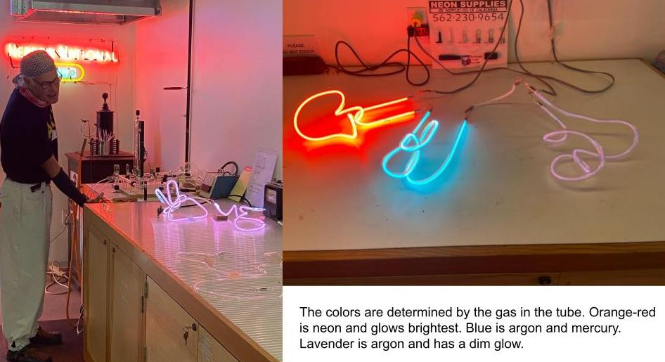 Filling the neon tubes with glass and the three colors of gas (neon, mercury & argon, argon)