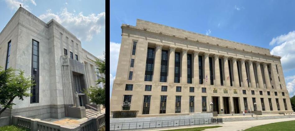 The Frist Art Museum (formerly the Nashville U.S.Post Office) and the Davidson County Courthouse are WPA Moderne