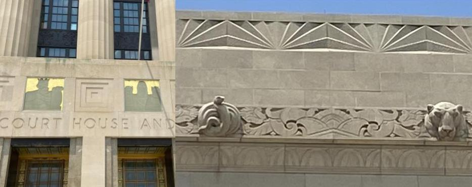 Carvings on the exterior of Davidson County Court House