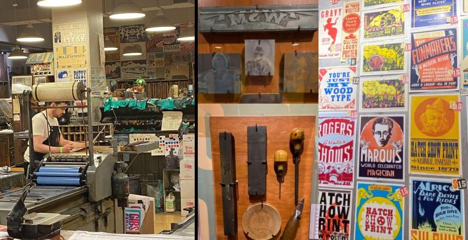 Watch printers use historic printing methods to create concert posters at the Hatch Show Print Shop. (KimberlyUs)